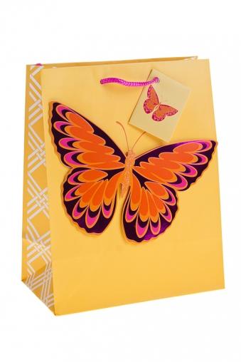 """Пакеты на любой повод Красный куб Пакет подарочный """"Яркая бабочка"""""""