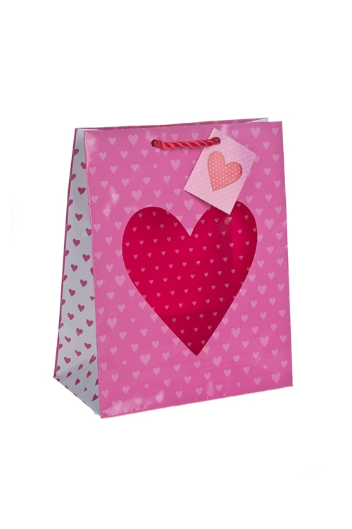 """Пакеты про Любовь Красный куб Пакет подарочный """"Глянцевое сердце"""""""