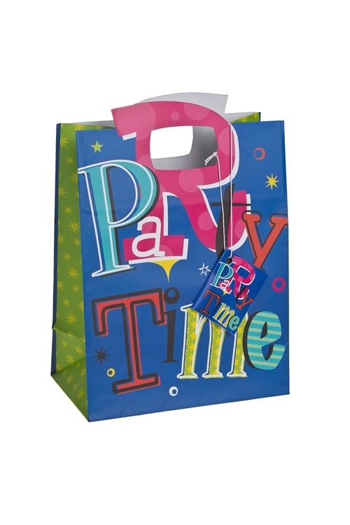 """Пакеты на любой повод Красный куб Пакет подарочный """"Время для веселья"""""""