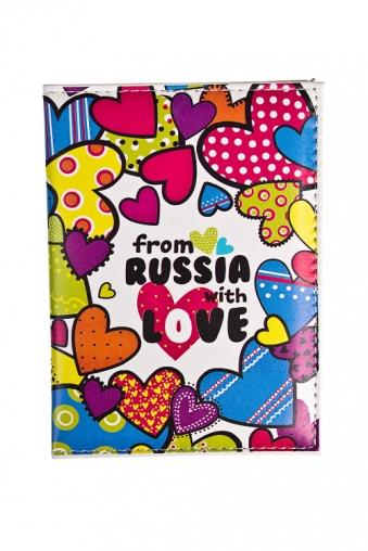 """Сувениры для женщин Красный куб Обложка для паспорта """"Из России с любовью"""""""