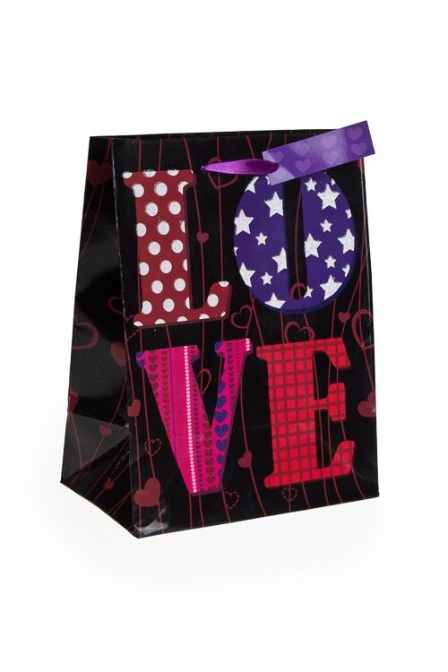 """Пакеты про Любовь Красный куб Пакет подарочный """"Лиловая любовь"""""""
