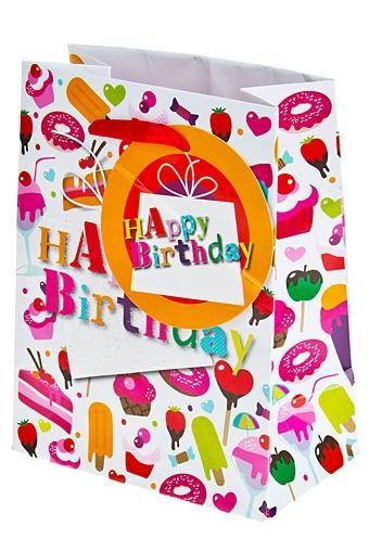 """Пакеты «С Днем рождения» Красный куб Пакет подарочный """"Сладкие поздравления"""""""