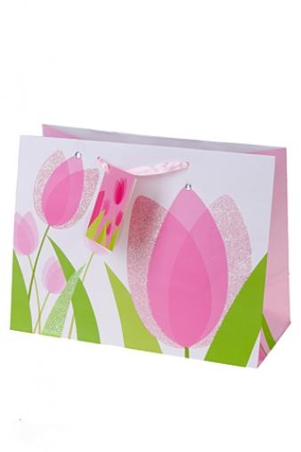 """Пакеты на любой повод Красный куб Пакет подарочный """"Тюльпаны"""""""