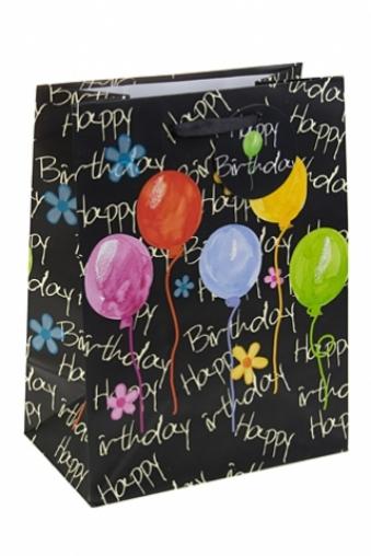 """Пакеты «С Днем рождения» Красный куб Пакет подарочный """"Акварельные шары"""""""