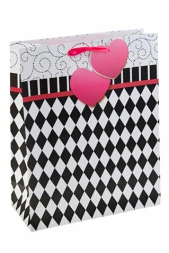"""Пакеты про Любовь Красный куб Пакет подарочный """"Сердце на ниточке"""""""