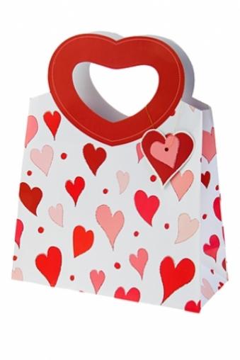 """Пакеты про Любовь Красный куб Пакет подарочный """"Сердца любви"""""""