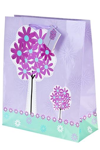 """Пакеты на любой повод Красный куб Пакет подарочный """"Цветочное дерево"""""""