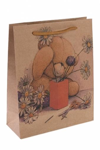 """Пакеты на любой повод Красный куб Пакет подарочный """"Мишка в ромашках"""""""