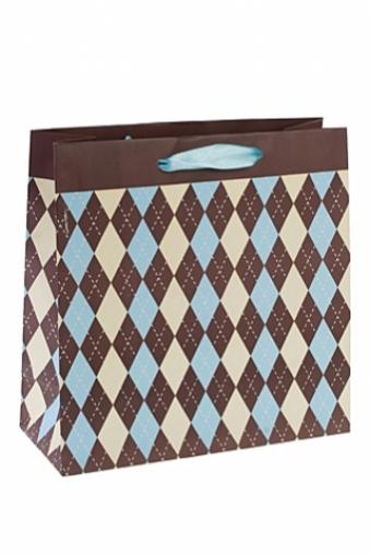 """Пакеты на любой повод Красный куб Пакет подарочный """"Ромбики"""""""