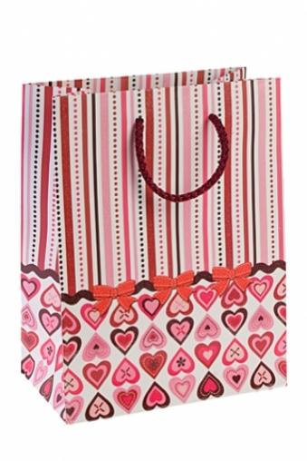 """Пакеты про Любовь Красный куб Подарочный пакет """"Сердца и бантики"""""""