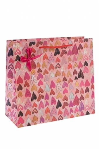 """Пакеты про Любовь Красный куб Пакет подарочный """"Разноцветные сердца"""""""