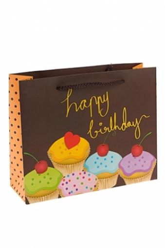"""Пакеты «С Днем рождения» Красный куб Пакет подарочный """"Пирожные"""""""