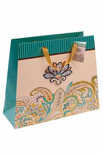 """Пакеты на любой повод Красный куб Пакет подарочный """"Золотые цветы"""""""