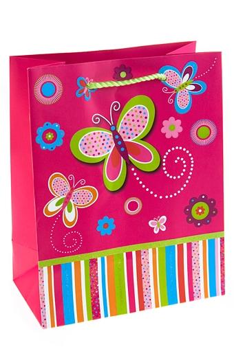 """Пакеты на любой повод Красный куб Пакет подарочный """"Бабочка на розовом"""""""
