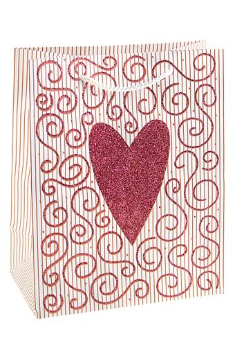 """Пакеты про Любовь Красный куб Пакет подарочный """"Сердце и узоры"""""""