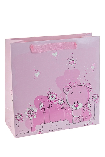 """Пакеты про Любовь Красный куб Пакет подарочный """"Смущенный мишка"""""""