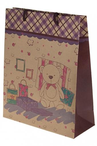 """Пакеты на любой повод Красный куб Пакет подарочный """"Розовый мишка"""""""
