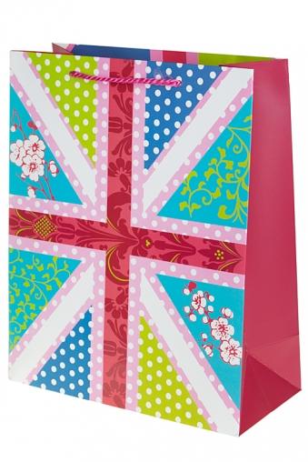 """Пакеты на любой повод Красный куб Пакет подарочный """"Флаг в цветах"""""""