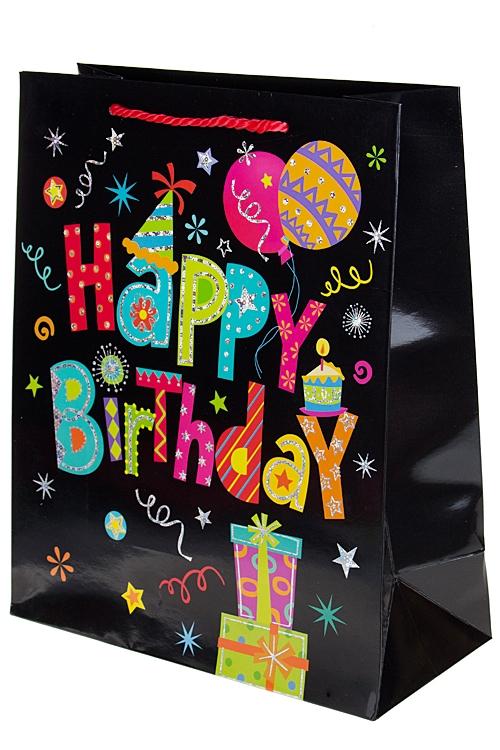 """Пакеты «С Днем рождения» Красный куб Пакет подарочный """"Веселый праздник"""""""