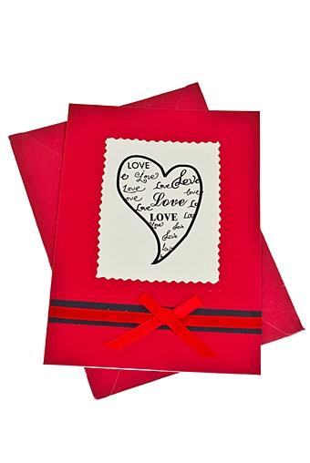 """Открытки ручной работы Красный куб Открытка подарочная """"Марка из сердца"""""""