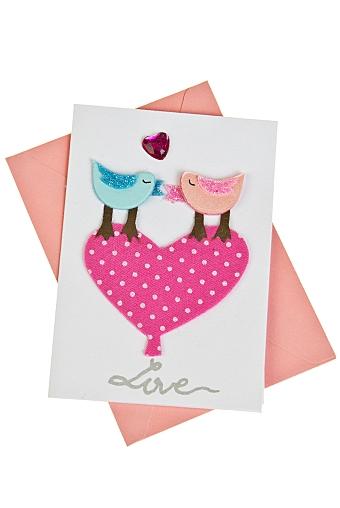 """Открытки ручной работы Красный куб Открытка подарочная """"Птички на сердце"""""""