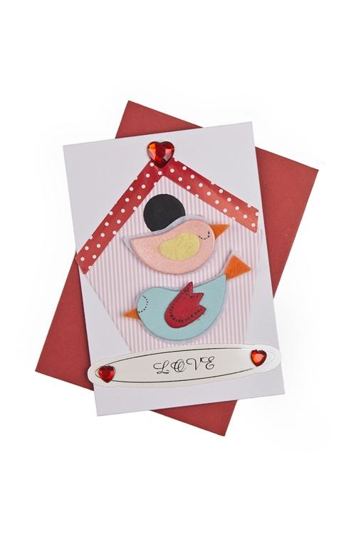 """Открытки ручной работы Красный куб Открытка подарочная """"Влюбленные птички"""""""