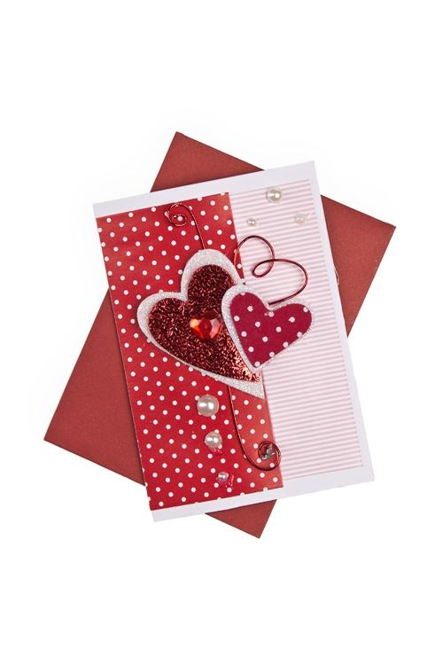 """Открытки ручной работы Красный куб Открытка подарочная """"Дуэт сердец"""""""