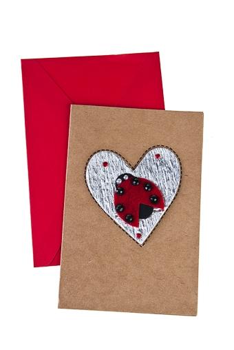 """Открытки ручной работы Красный куб Открытка подарочная """"Божья коровка на сердце"""""""