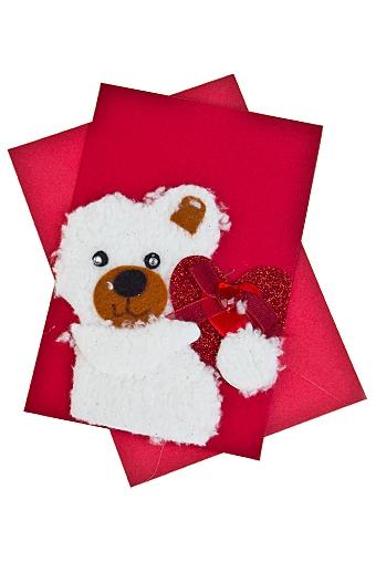 """Открытки ручной работы Красный куб Открытка подарочная """"Мишка с сердцем"""""""