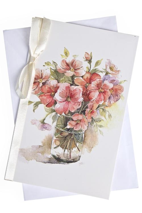 """Открытки Красный куб Открытка подарочная """"Розовые цветы"""""""
