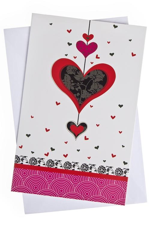 """Открытки про Любовь Красный куб Открытка подарочная """"Гирлянда из сердец"""""""