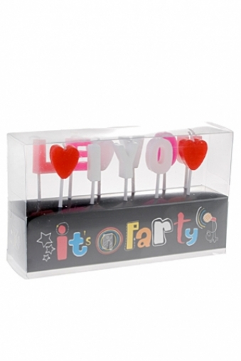 """Подарки на 14 февраля Красный куб Набор свечей для торта """"Любовь"""""""
