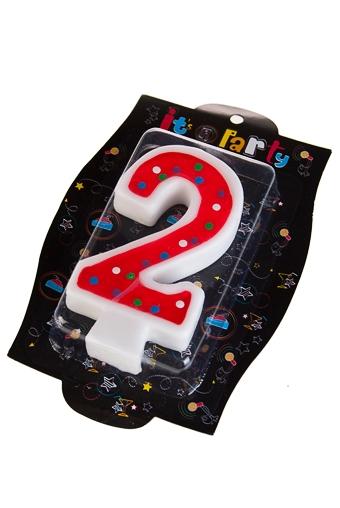 """Свечи для торта и вечеринок Красный куб Свеча для торта """"Два годика"""""""