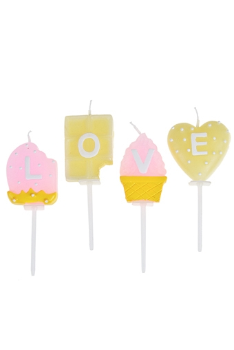 """Свечи для торта и вечеринок Красный куб Набор свечей для торта """"Сладкая любовь"""""""