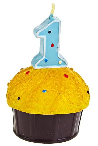 """Свечи для торта и вечеринок Красный куб Свеча """"Кекс с цифрой 1"""""""
