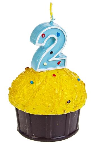"""Свечи для торта и вечеринок Красный куб Свеча """"Кекс с цифрой 2"""""""