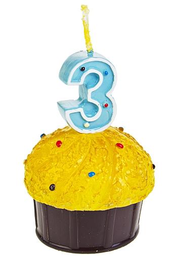 """Свечи для торта и вечеринок Красный куб Свеча """"Кекс с цифрой 3"""""""
