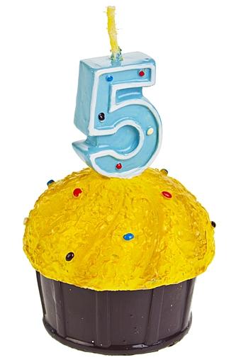 """Свечи для торта и вечеринок Красный куб Свеча """"Кекс с цифрой 5"""""""