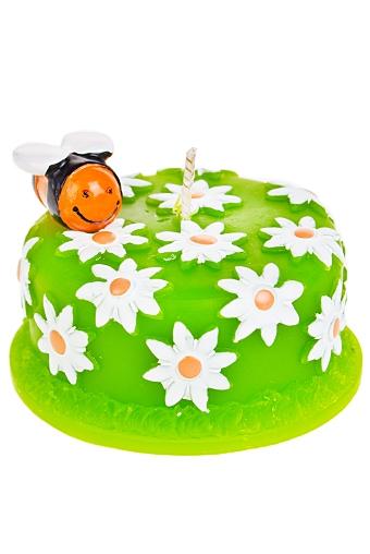 """Свечи для торта и вечеринок Красный куб Свеча """"Пчелка на торте"""""""
