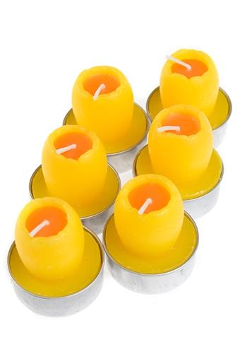 """Декоративные свечи Красный куб Набор свечей-таблеток """"Яркий желток"""""""