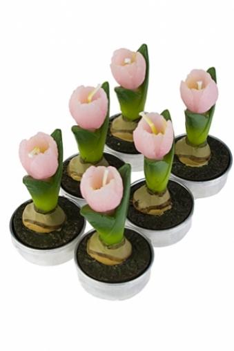 """Сувениры для женщин Красный куб Набор свечей """"Тюльпаны"""""""