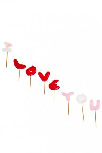 """Декоративные свечи Красный куб Набор свечей """"Я люблю тебя"""""""