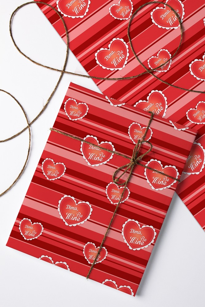 "Упаковочная бумага Красный куб Бумага упаковочная с вашим текстом ""Be Mine"""