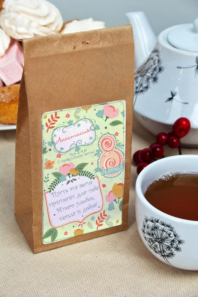 """Оригинальные и Необычные подарки Красный куб Сувенир """"Чай черный"""" """"С праздником весны!"""""""