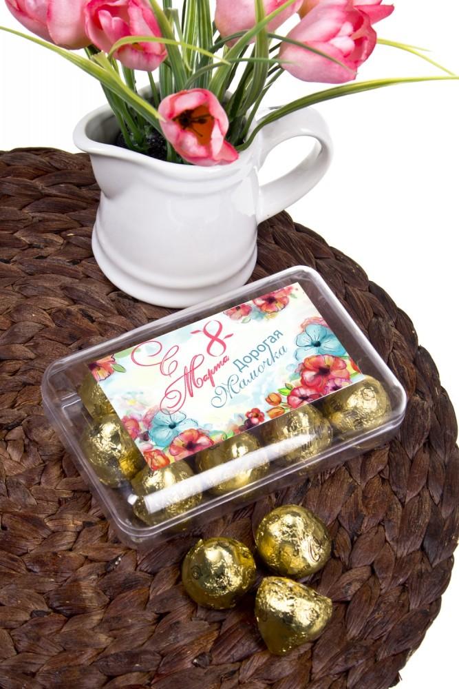 """Сладости Красный куб Коробка шоколадных конфет """"С 8 Марта"""""""