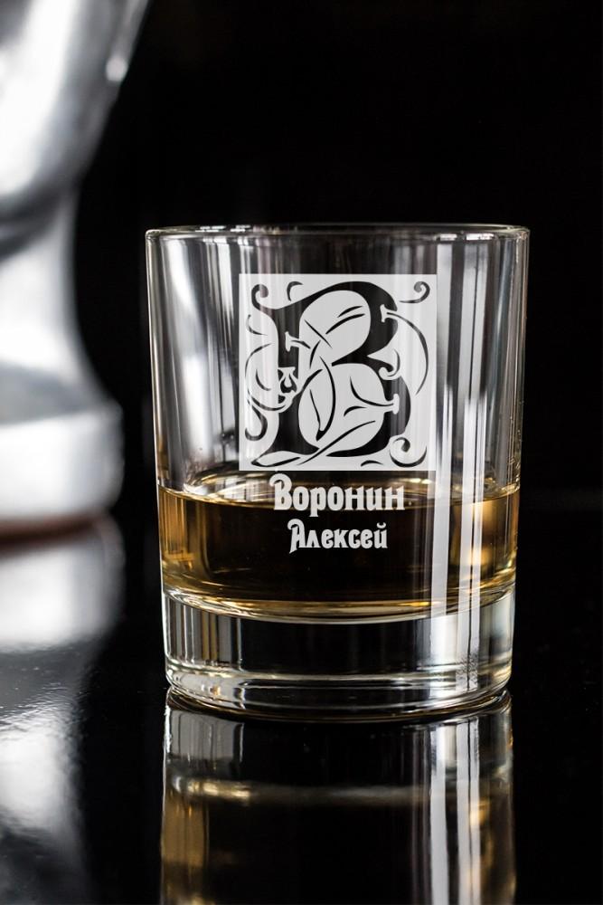 """Кружки и бокалы Красный куб Стакан для виски с вашим текстом """"Фамильный герб"""""""