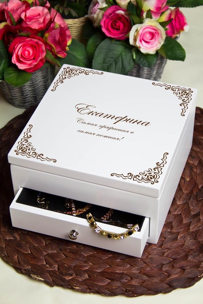 """Шкатулки для украшений Красный куб Шкатулка для ювелирных украшений с вашим текстом """"Винтажная"""""""
