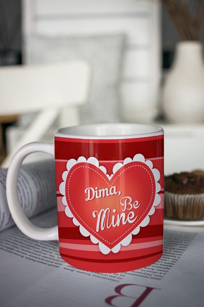 """Оригинальные и Необычные подарки Красный куб Кружка с вашим текстом """"Be Mine"""""""