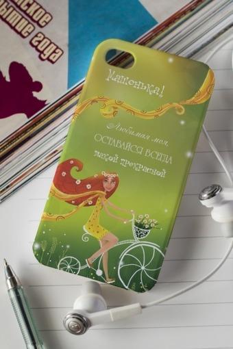 """Подарки на 8 марта Красный куб Чехол для iphone 4/4S с вашим текстом """"Велосипед"""""""