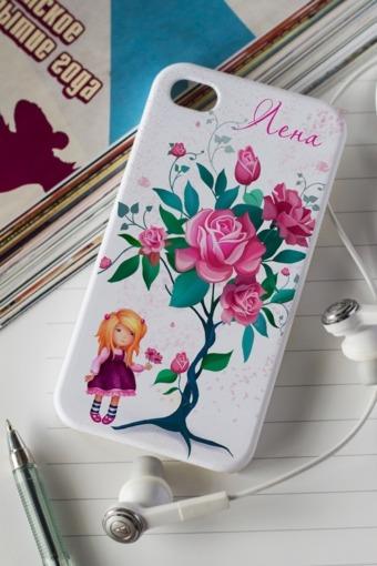 """Подарки детям Красный куб Чехол для iphone 4/4S с вашим текстом """"Цветы"""""""